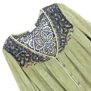 Anthropologie Ember Moss Green Cutwork BOHO Top